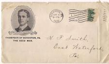 PM1906 SCRANTON PA Seed Man Arthur Thompson Portrait Photo Antique Postal Cover