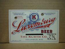 Luxemburg Irtp 7 3/4 Gal Beer Label-Kurth Co.,Columbus,Wis.