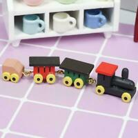 Funny Children 1:12 Dollhouse Miniature Kid's Toy Colored Wooden Train Leng D1G4