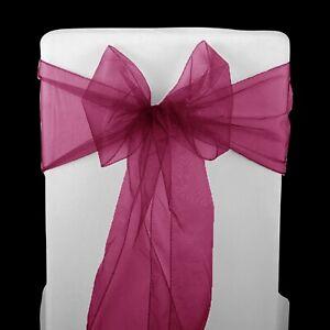 1 10 25 50 100 Organza Chair Sashes Cover Bow Sash Bows Bows Wedding Party Decor