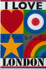 PETER BLAKE HAND SIGNED 6X4 PHOTO ART MEMORABILIA I LOVE LONDON.
