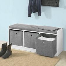 SoBuy® Hallway Furniture 3 Baskets Storage Bench With Padded Seat FSR65-DG,UK