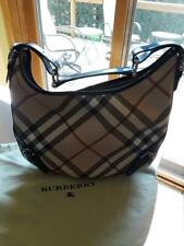 Burberry Hobo Style Purse Full top zipper closure Coated canvas material
