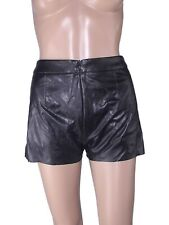 benetton pantalone pants corto donna nero short ecopelle s small
