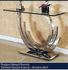 Designer Spiegelkonsole Edelstahl Schminktisch Konsolentisch Konsole Glas