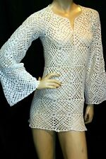 XS~S HandMade Crochet 1970s White Sheer Granny Square MINI Dress Bell Tunic Top