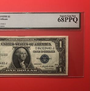 1935H - $1 SILVER CERTIFICATE NOTE,GRADED BY LEGACY SUPERB GEM NEW 68 PPQ.