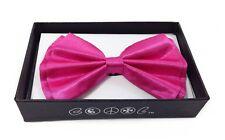 Neon Pink Men Women Bowtie Classic Clip-On Neck-wear Tuxedo Adjustable
