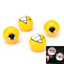 4pcs Car Auto Yellow Smile Ball Wheel Tyre Valve Stems Air Dust Caps Covers