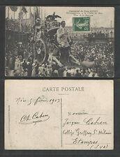 1913 CARNAVAL DE NICE XXXXI FRANCE DEMENAGEMENT CHAR de la MUSIQUE POSTCARD