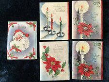 Vtg partial box 5 parchment Christmas folders cards with envelopes