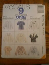 MCCALLS 7360 9 IN ONE PATTERN BLOUSES SIZE 8 10 12