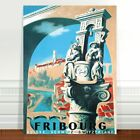 "Vintage Travel Poster Art ~ CANVAS PRINT 8x12"" ~ Fribourg Switzerland"