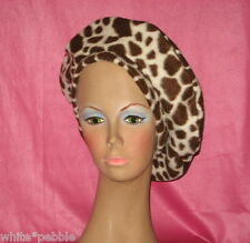 Handmade Beret - Fleece - Giraffe Print - Brown/off white - One size fits most