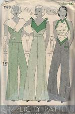 """1930s Vintage Sewing Pattern B36"""" BLOUSE & PAJAME PANTS (NOT pyjamas) (1798)"""