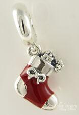 FESTIVE STOCKING Genuine PANDORA Silver RED Enamel CHRISTMAS Dangle Charm NEW