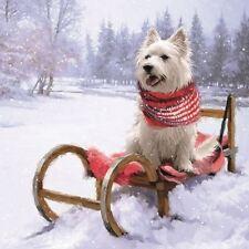 Westie traîneau neige Noël 33cmx33cm 33cm x 20 3 plis Serviettes en papier
