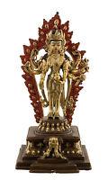 Staue Escultura Estatua Tibetano 19.5CM Cobre Nepal AFR12-4291