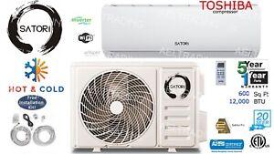 12000 BTU Ductless Air Conditioner/Heat Pump Mini Split 110V 1Ton 20 Seer & Wifi
