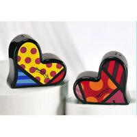 New Romero Britto Heart Salt Pepper Shaker Set SAVE Ceramic Giftcraft  Kitchen !