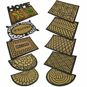 Door Entrance Welcome Mat Rubber Coir Non Slip Indoor Outdoor Absorbent Doormat