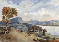 WINDERMERE LANDSCAPE LAKE DISTRICT Small Watercolour Painting - 19TH CENTURY