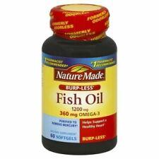 Nature Made Burp-Less Fish Oil Omega-3 1200 mg 60 Softgels