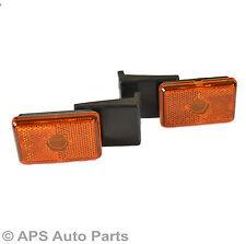 New Pair 12V Side Marker Amber Rear Light Trailer Truck Lorry Reflector Rubber