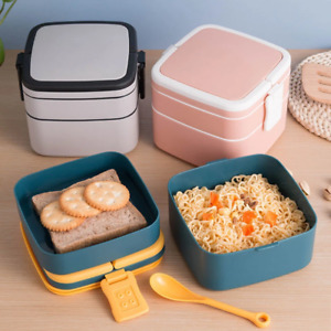 1100ml Portable 2 Layer Bento Boxes With Cutlery   Microwavable