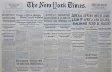 11-1938 November 22 BRITAIN OFFERS REICH JEWS LAND IN AFRICA AND GUIANA, FUND IS