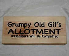 Grumpy Old Git Allotment Plaque Sign Hanging Outdoor Gardening Garden Shed Den
