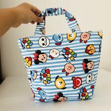TSUM tsum blue canvas handbag zip lunch box bag storage tote recycle bag