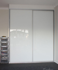 2 Wardrobe Super White Glass Sliding Doors *Custom Made* DIY Made to size