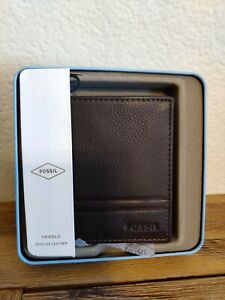 Fossil Men's Wilder Trifold Wallet ML4006201 Dark Brown NEW Tin Gift LEATHER