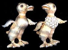 Vintage Rhinestone DUCKLING Baby DUCK Bird Figural PINS/Brooches,FJT