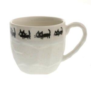 "Japanese Tea Cup Mug 3.25""H Ceramic Craft Rock Black Cats Kobiki Made In Japan"