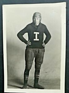 Vintage 1900s Ironwood Mich Football Player Letter Sweater Leather Helmet RPPC