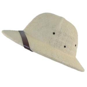 Summer Sun Toyo Pith Safari Jungle Hat Helmet w/Sweatband Natural Light Khaki
