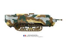 St Chamond vintage French Tank 1917 WW1 Profile Artwork A4 Glossy Print signed