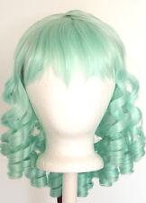 14'' Ringlet Curly Shoulder Length w/ Short Bangs Mint Green Wig Lolita NEW