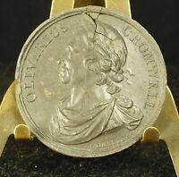 Medal Stoneware XIX Olivarius Oliver Cromwell English Military Leader 38mm Medal
