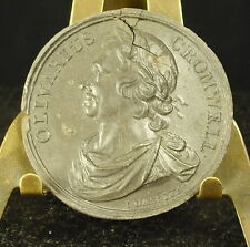Médaille grès XIX Olivarius Oliver Cromwell English military leader 38mm Medal
