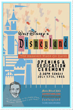 "VINTAGE DISNEY COLLECTOR'S POSTER 12"" x 18"" - DISNEYLAND - OPENING CEREMONY 1955"