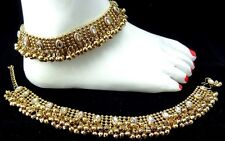 2pcs Anklet Payal White Kundan Gold OxidizeD Antique Bridal Party RAMADHAN EID