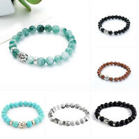 Fashion Men Women Lava Rock Bracelet Natural Gemstone Beads Buddha Head Beaded