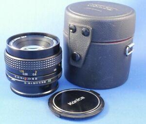 Konica Hexanon AR 50mm f1.8 Standard Prime Lens . Caps , Case.