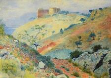 "Paul Giese (20. Jhd.) / Aquarell & Tusche ""Malaga"" Hügellandschaft m. Burg 1907"