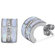 White Opal & Cz C-Shape Huggie Hoop .925 Sterling Silver Earrings