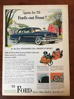 Vintage 1953 Original Print Ad FORD ~Ford's Out Front~
