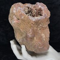 "6"" Large Red Geode Crystal Chalcedony Druzy Quartz Kentucky 3.11Lb Hematite Fire"